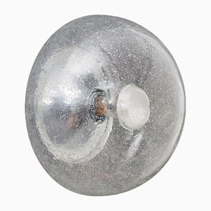 Glass & Chrome Ceiling or Wall Lamp, 1970s