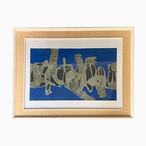 Blaue Abstrakte Malerei von Russo, Italien, 1970er