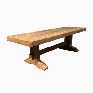 Large Antique French Bleached Oak Refectory Farmhouse Dining Table