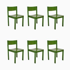 Green Beechwood Dining Chairs, 1950s, Set of 6