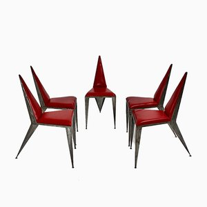 Vintage Pop Art Iron Chairs, 1960s, Set of 5