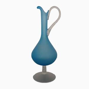 Italian Filigree Blue Murano Glass Carafe, 1960s