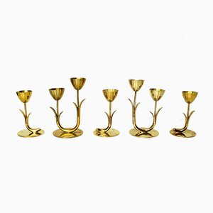 Vintage Scandinavian Brass Candleholders by Gunnar Ander for Ystad Metall Sweden, Set of 5