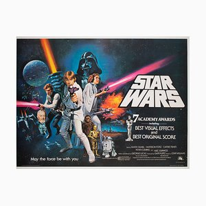 Affiche de Film Star Wars Quad Film par Chantrell, Royaume-Uni, 1977