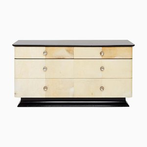 Art Deco Parchment and Ebonized Double Chest of Drawers, 1940s