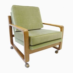 Green Velour Lounge Chairs, 1960s, Set of 2
