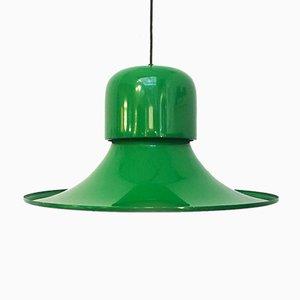 Suspension Chapeau Mid-Century Moderne Vert Émaillé par Gio Colombo pour Stilnovo, Italie, 1974