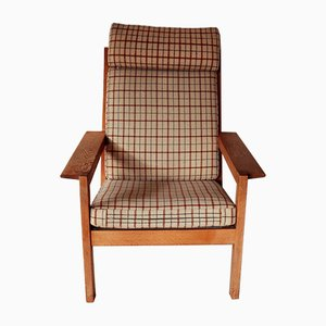H680/690 Series Solid Oak Armchair & Stool Set by Bernt Petersen for Schiang, 1960s