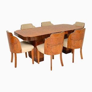 Art Deco Burr Walnut Dining Table & Cloud Back Chairs by Harry & Lou Epstein, 1920s, Set of 7