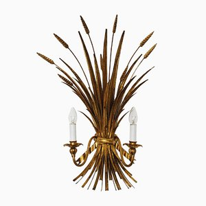 Large Gilded Hollywood Regency Wall Lamp by Hans Kögl, 1970s