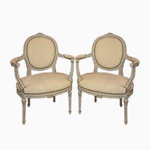 Bemalte Louis XV Armlehnstühle aus Holz, 2er Set