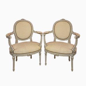 Louis XV Painted Wood Armchairs, Set of 2