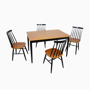 Dining Table & Chairs, 1972, Set of 5