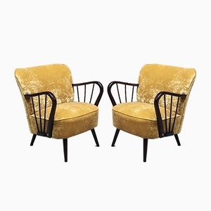 Mid-Century Danish Beech Structure & Mustard-Colored Velvet Armchair, 1960s