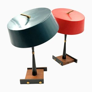 Mid-Century Petrol Blue & Bright Red Table Lamps from Stilux, Set of 2