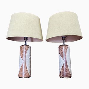 Ceramic & Brass Table Lamps, 1950s, Set of 2