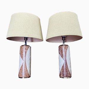 Keramik & Messing Tischlampen, 1950er, 2er Set