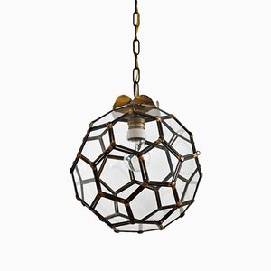 Italian Lantern or Hanging Lamp in Glass & Brass, 1950s