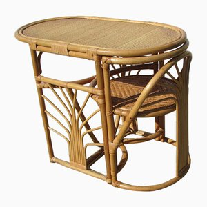 Bamboo & Rattan Table and Chair, 1970s, Set of 2