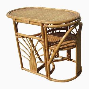 Tisch & Stuhl aus Bambus & Rattan, 1970er, 2er Set