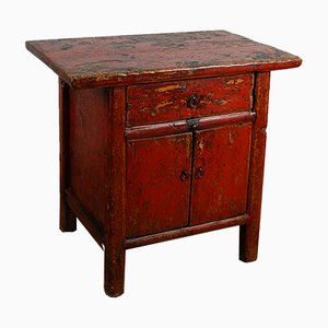 19th Century Chinese Qing Sideboard with Original Rustic Distressed Red Lacquer