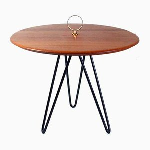 Mid-Century Danish Teak, Brass & Cast Iron Side Table from Digsmed