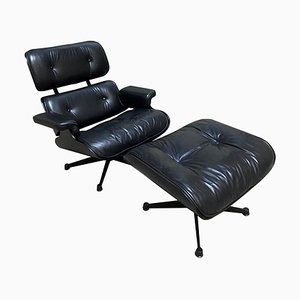 Black Leather 670 Lounge Chair & 671 Ottoman by Herman Miller for ICF Milano, 1970s, Set of 2