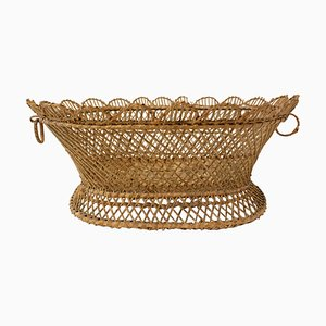 French Wicker Basket Centerpiece, 1950s