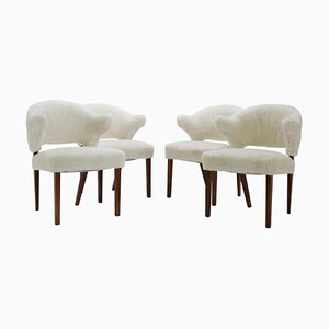 Danish Oak Armchairs with Sheepskin Upholstery, 1960s, Set of 4