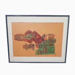 Modern Industrial Framed Watercolor Painting by Helmet