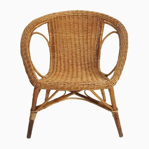 Vintage Rattan and Wicker Bucket Seat Armchair