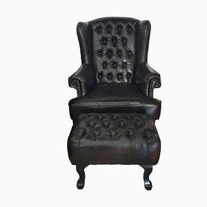 Dunkelbraune Couch aus Leder, Couchtisch, Sessel & Fußhocker, 4er Set