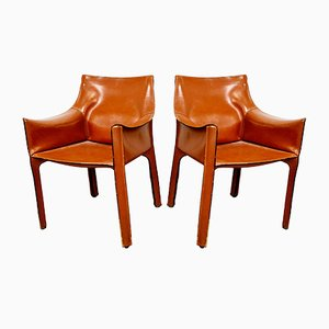 Russian Red CAB 413 Chairs by Mario Bellini for Cassina, 1980s, Set of 2