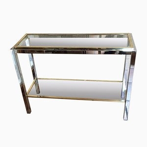 Vintage Brass & Chrome Steel Console Table by Romeo Rega