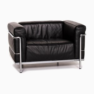 Black Leather LC3 Armchair by Le Corbusier for Cassina
