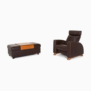 Dark Brown Leather Arion Armchair & Stool from Stressless, Set of 2