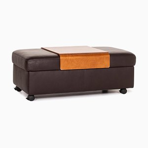 Dark Brown Leather Arion Function Tray Storage Stool from Stressless