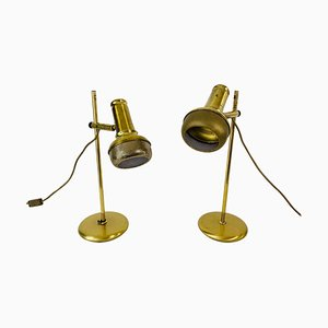 Mid-Century Modern Brass Table Lamps, 1960s, Set of 2