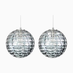 Grey Murano Pendant Lamps in the Style of Venini, 1960s, Set of 2