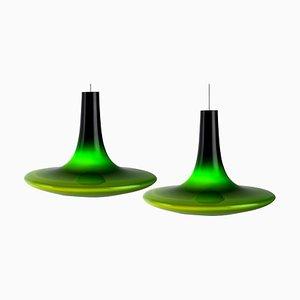 Murano Glass Pendant Lamps, 1970s, Set of 2