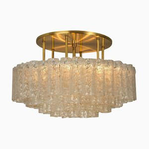 Large Blown Glass and Brass Flush Mount Light Fixture from Doria Leuchten, Germany, 1960s
