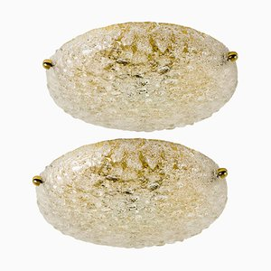 Textured Bubble Glass Flush Mount Lamp from Hillebrand, 1969
