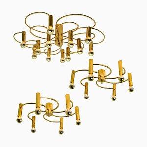 Modernist Sculptural Brass 16-Light Flush Mounts, 1970s, Set of 3