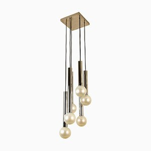 Large Cascade Light with Blown Opaline Glass Balls by Motoko Ishii for Staff, 1970s