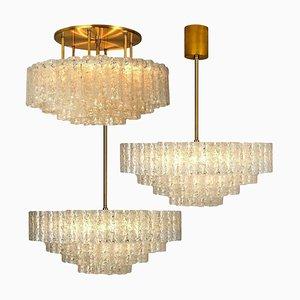 Large Glass & Brass Light Fixtures from Doria Leuchten, Germany, 1960s, Set of 3