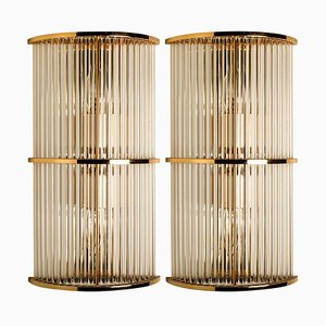 Art Deco Glass Rod Sconces in Style of the Sciolari, 1960s, Set of 2