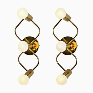 Sculptural Brass Wall Lights from Leola, 1970s, Set of 2