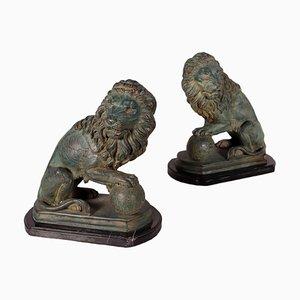 Leoni in bronzo e marmo, Italia, inizio XX secolo, set di 2