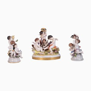 Italian Porcelain Sculptures from Capodimonte, 1900s, Set of 3