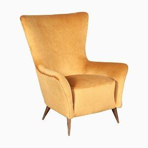 Italian Springs & Velvet Armchair, 1950s